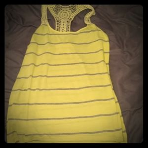 Free People Racer Back Yellow Striped Tank Top